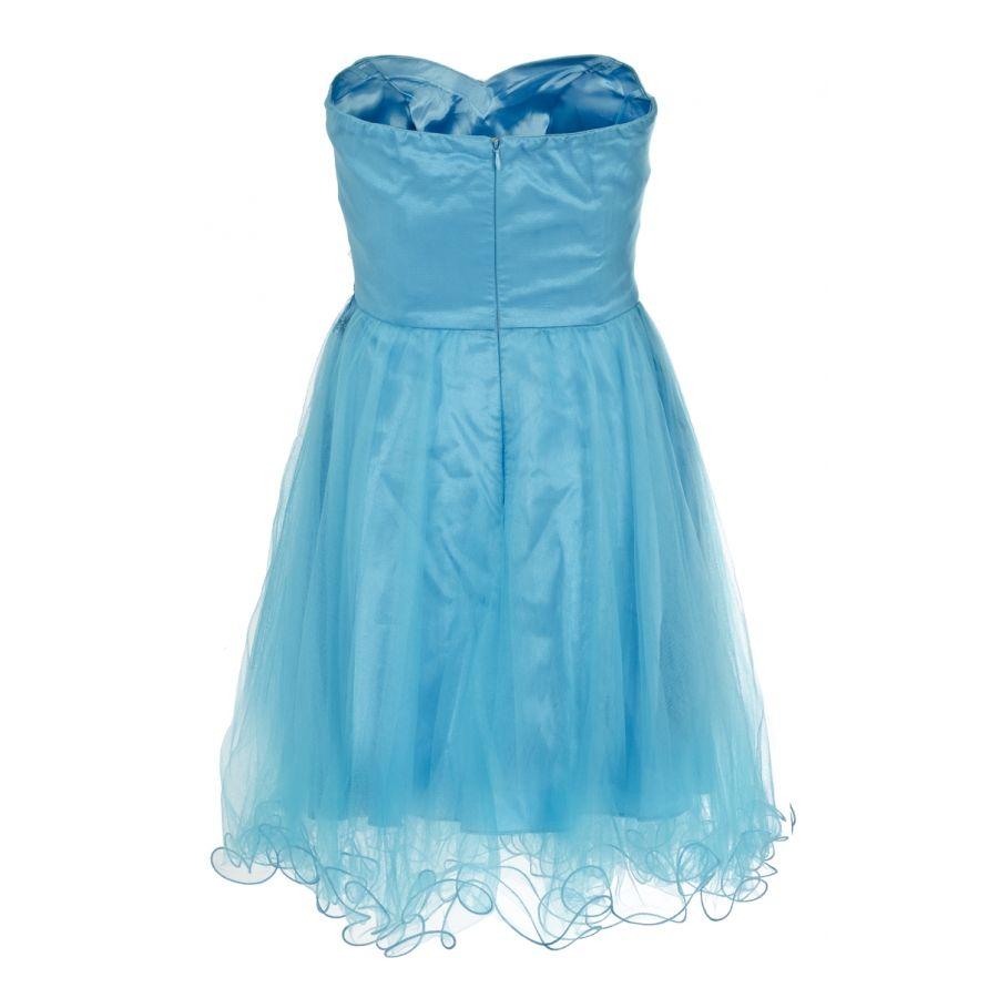 Blue Bustier Mesh Flower Sequin Prom Dress - Quiz Clothing | Quiz ...