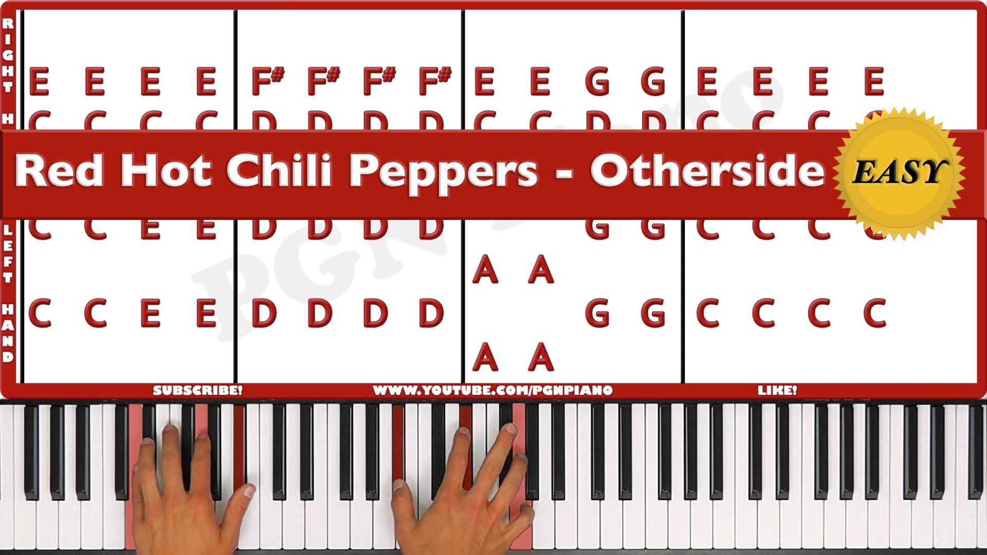 Easy How To Play Otherside Red Hot Chili Peppers Piano Tutorial