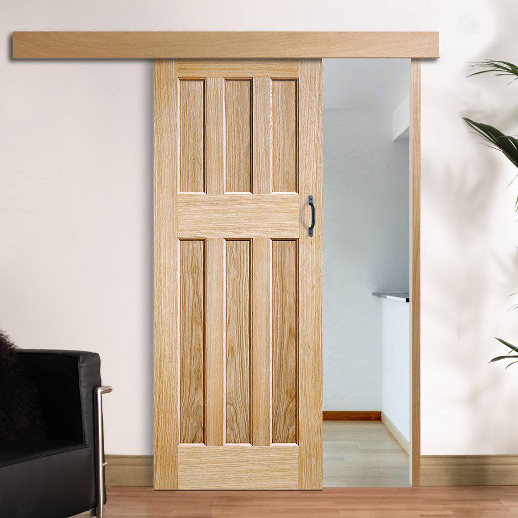 Thruslide Surface Dx 60 S Nostalgia Oak Panel Sliding Door And Track Kit Lifestyle Image Per Internal Sliding Doors Sliding Doors Sliding Doors Interior