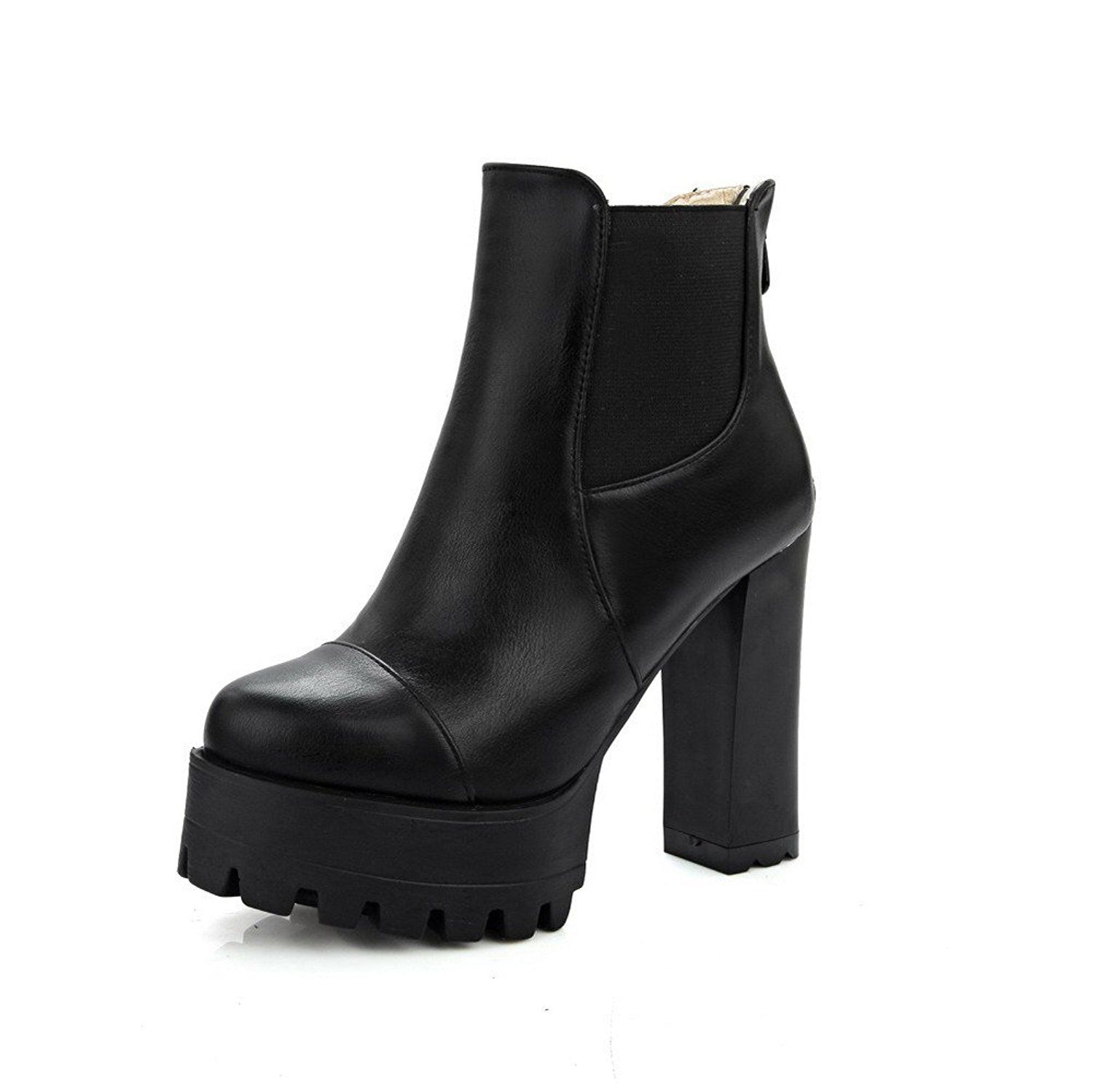 Women's PU Low-Top Solid Zipper High Heels Boots