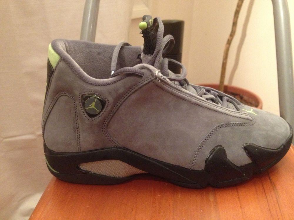 144147bf65a5 Air Jordan 14 Retro Size 9 LT Graphite Chartreuse-Black RARE!!  Jordan   AthleticSneakers