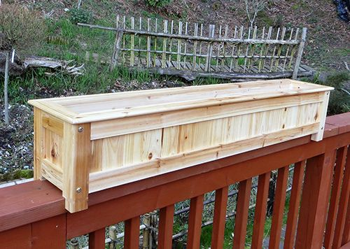 Planter Boxes for Decks | DP-36, Wood Deck Rail Planter on standard 1x6 handrail top strong sun ...