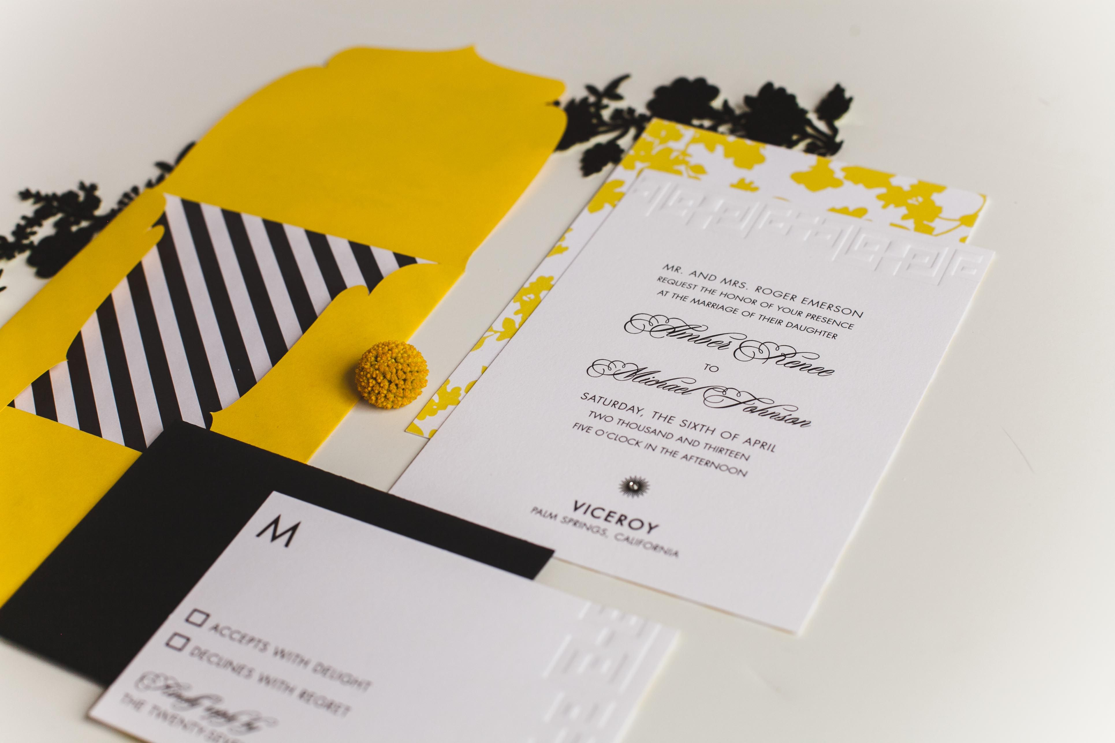 Viceroy Palm Springs Inspired wedding invitations, Yellow, black ...