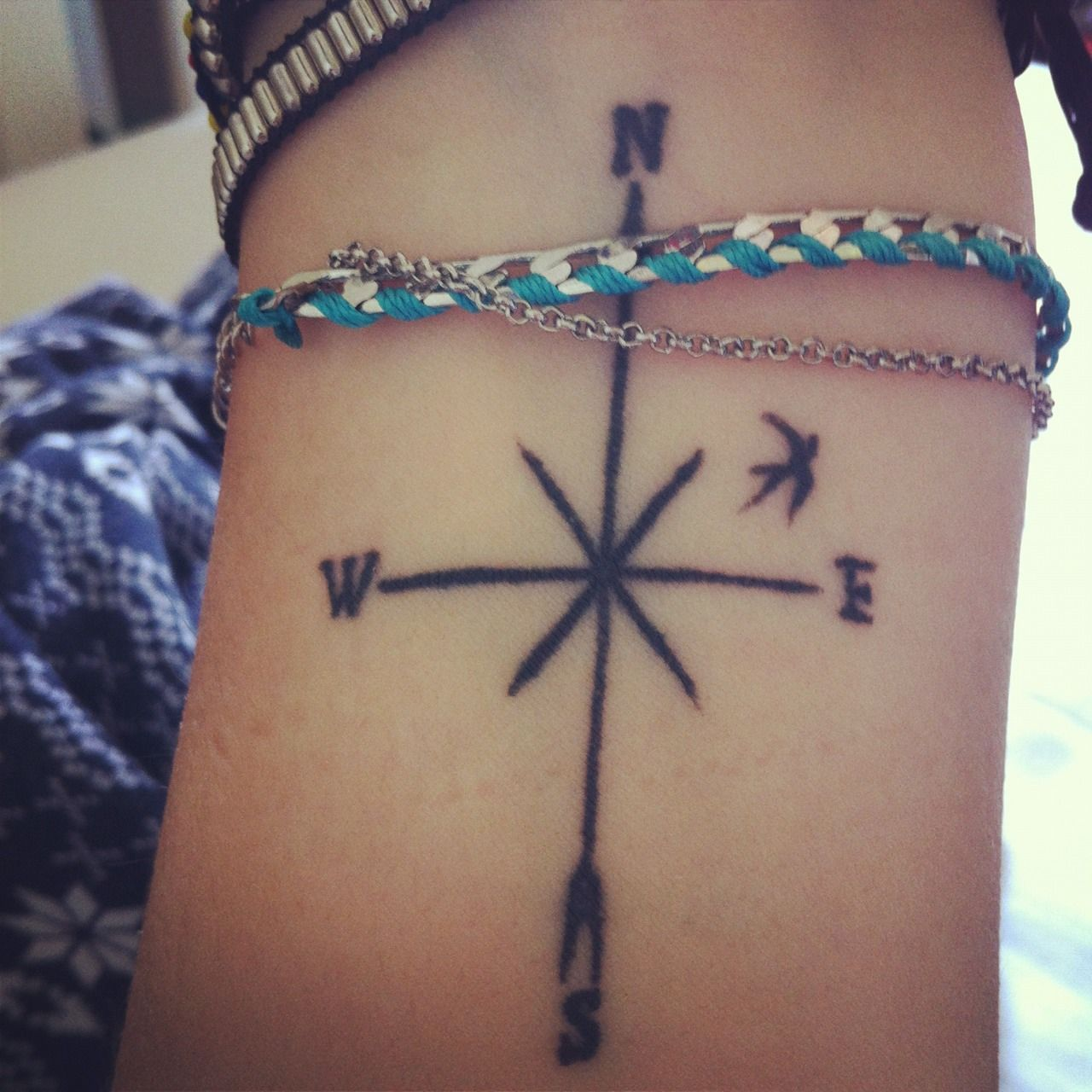 Compass & bird | wrist tattoo -   21 compass cross tattoo