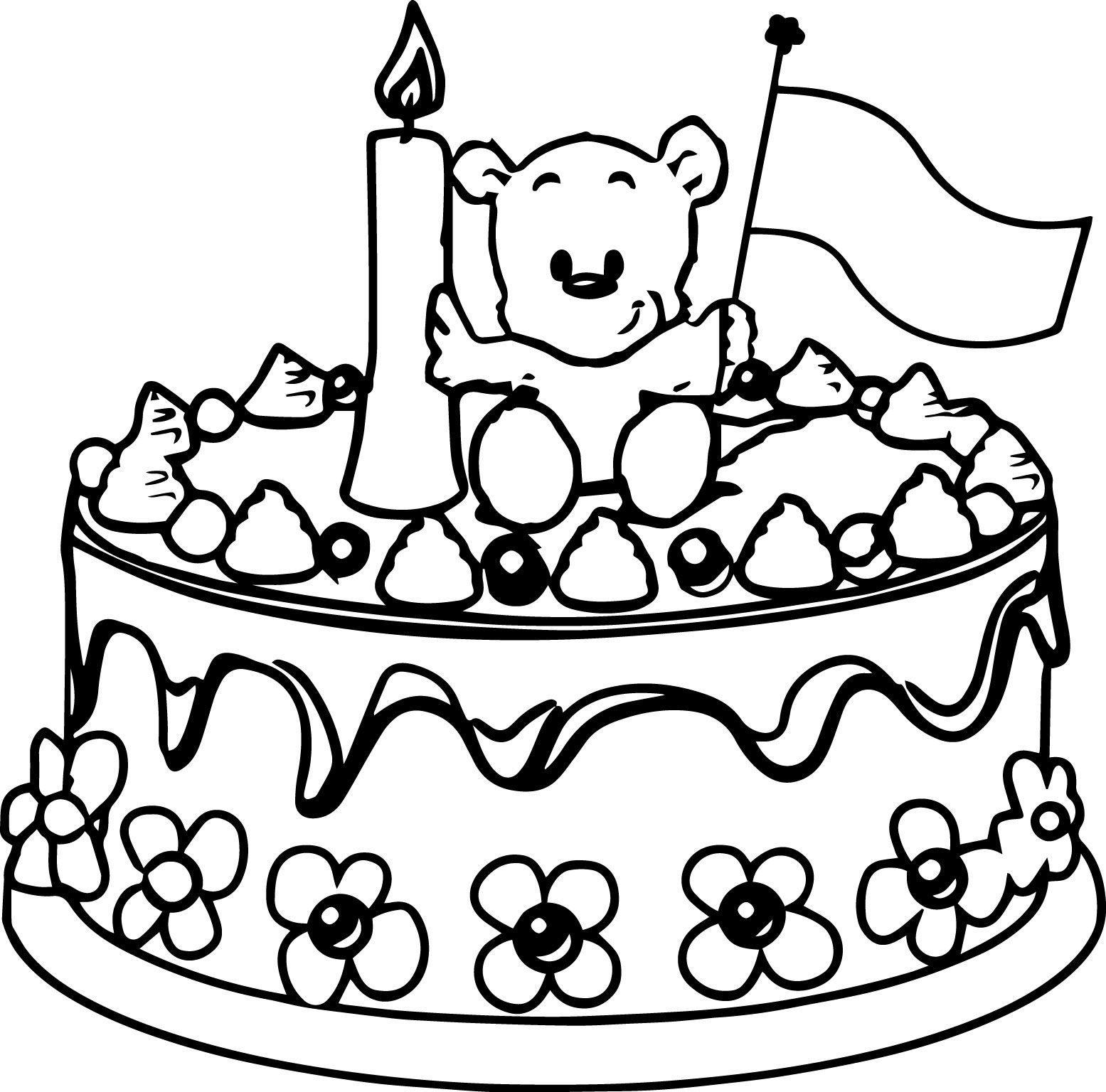 awesome Birthday Cake Bear Coloring Page | Dibujos para ...