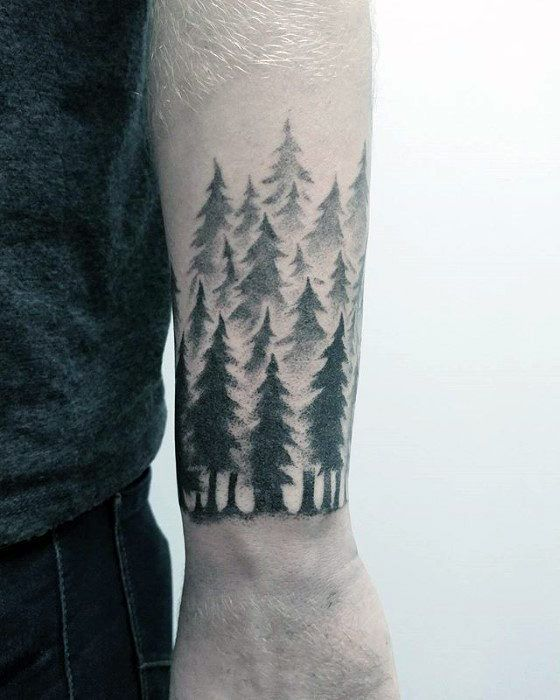 Pine Tree Forest Tattoo : forest, tattoo, Start, Tattoo, Small,, Tattoos, Guys,