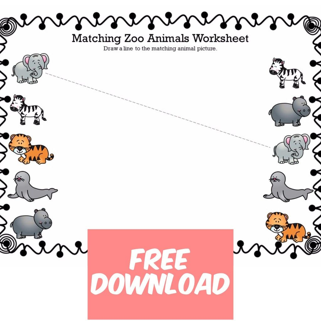 Matching Zoo Animals Worksheets