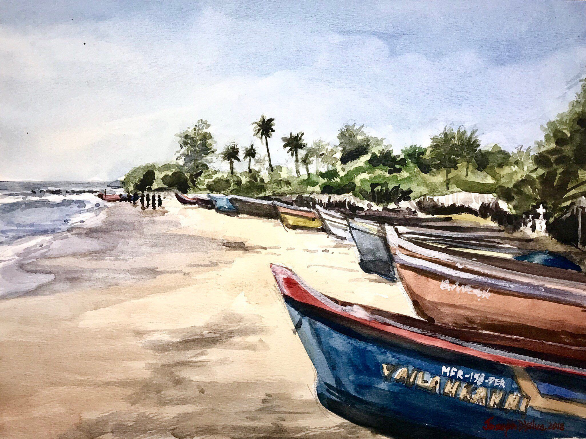 Sunny Goan Beach Watercolor Painting Goa India In 2020 Beach