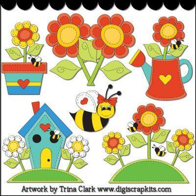 Summer Stitches 1 Clip Art - Original Artwork by Trina Clark