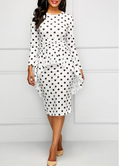 8a4d69f2a07 Long Sleeve Overlay Polka Dot Dress