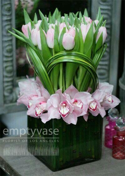 Orchid Tulip Flower Arrangements Diy Flower Centerpieces Flower Decorations