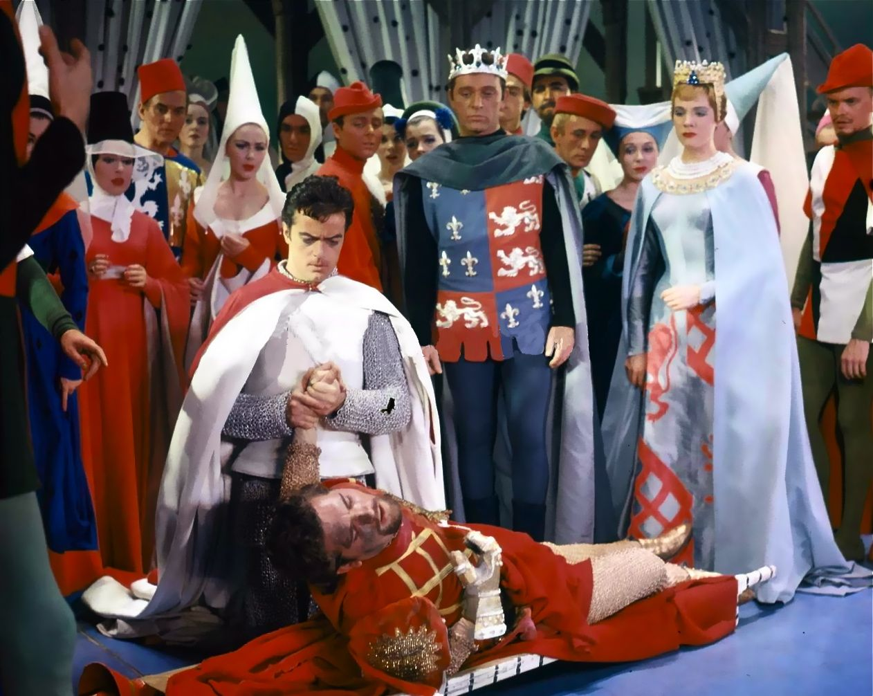1960 Julie Andrews, Richard Burton and Robert Goulet in the original Broadway production of Camelot.