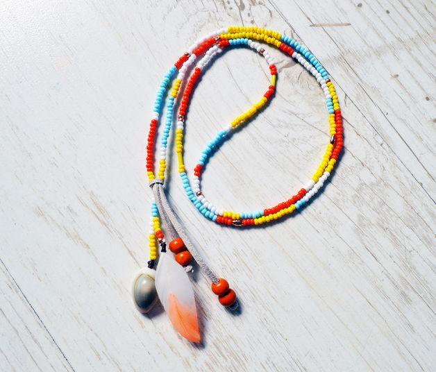 Indiański naszyjnik etno boho aztec - elentharen - Naszyjniki z zawieszkami