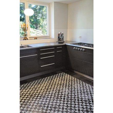 Zementmosaikplatte mit floralem Muster in schwarz-weiß 51042 - wohnzimmer fliesen schwarz