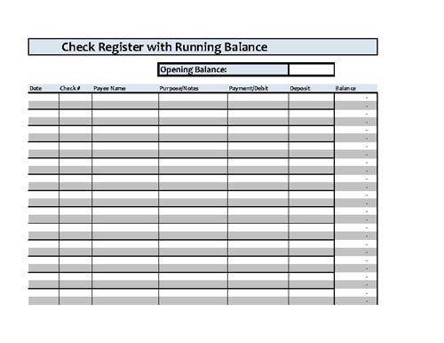 Checkbook Register Spreadsheet - Microsoft Excel | Checkbook ...
