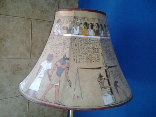I had this lamp shade made with art from the egyptian book of the ...