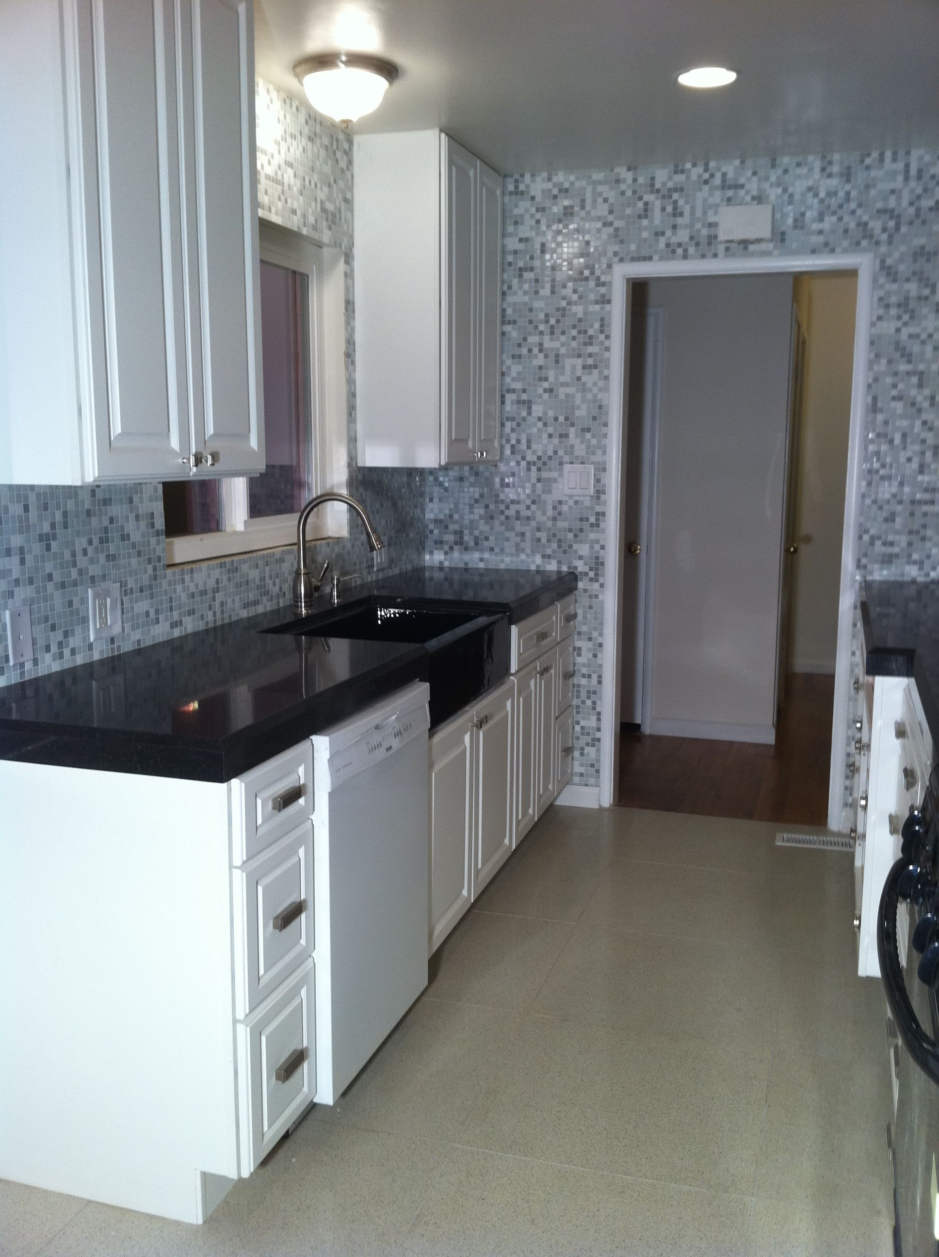 kitchen galley chico ca black and white kitchen with mosaic tile great idea 4901