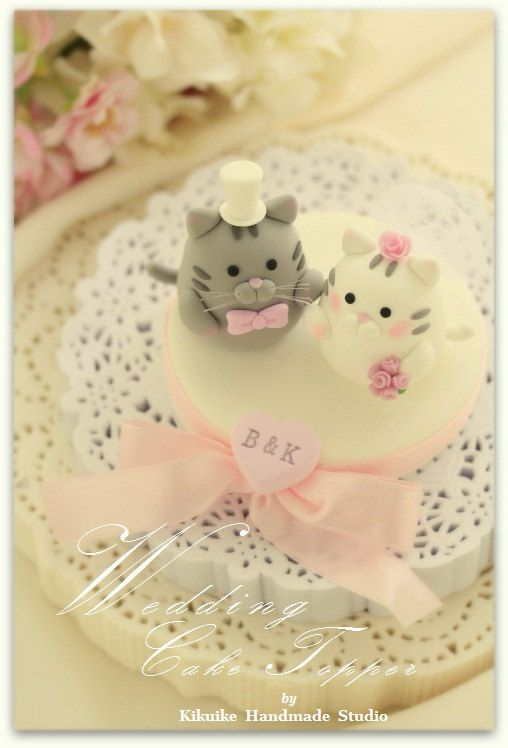 Handmade cat and kitty Wedding Cake Topper via Etsy. | clay ...