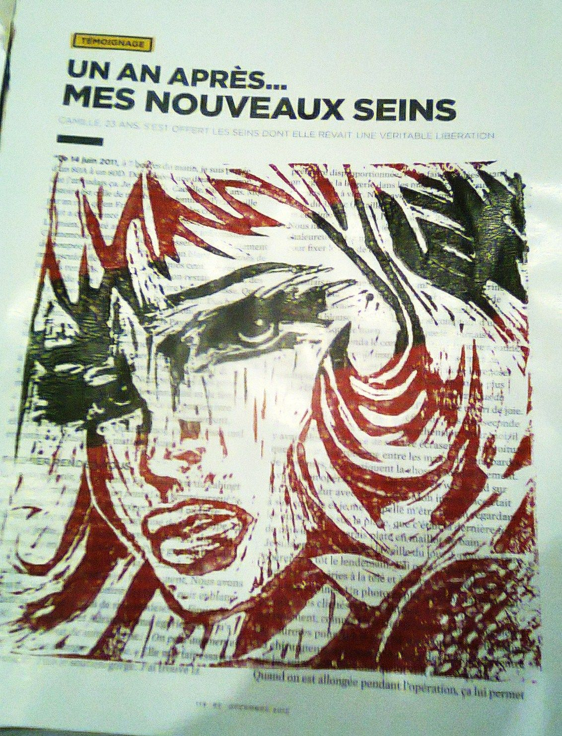 The Girl with the head ribbon (Lichtenstein) revisité - Linogravure & Glamour