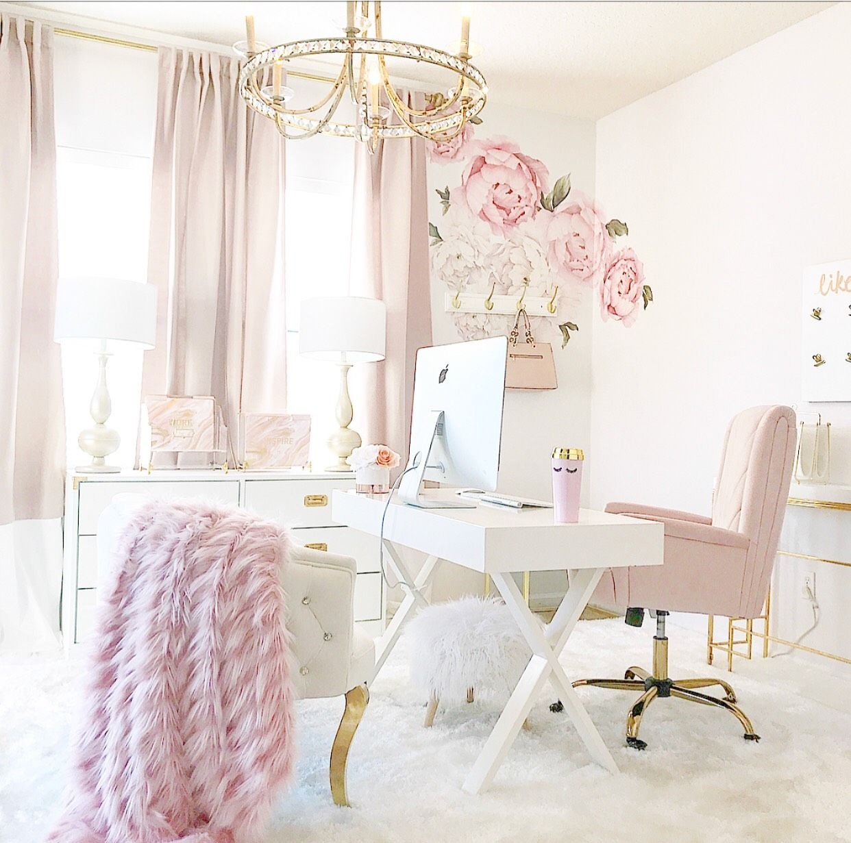 cool shabby chic home office decor | Blush Pink Home Office in 2019 | Pink home offices, Home ...