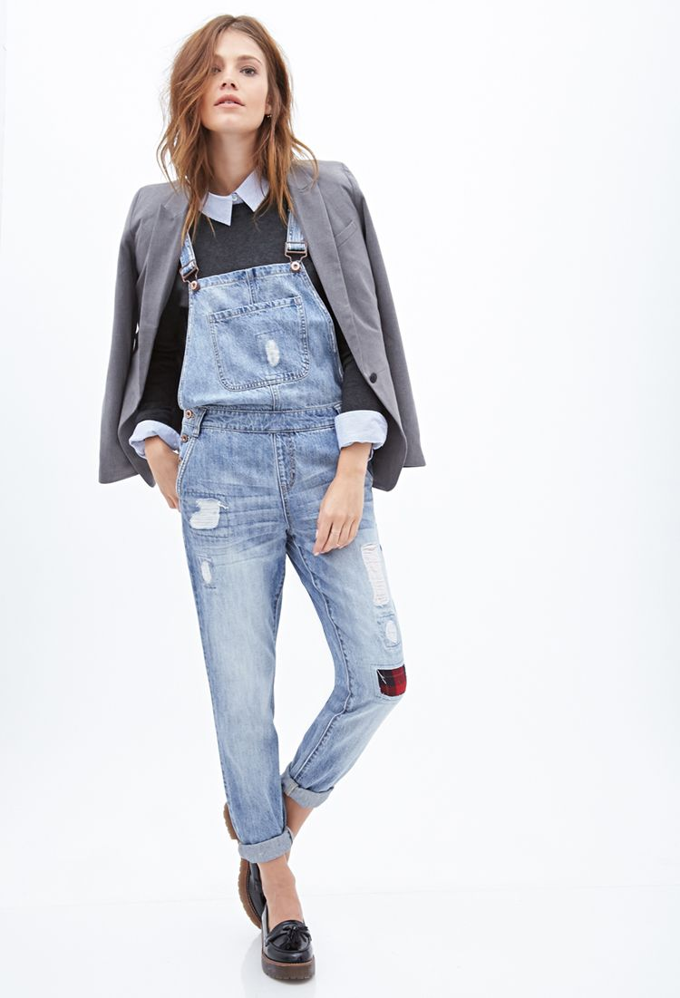 c98c771908c9 Distressed   Patched Overalls with collared shirt   sweater