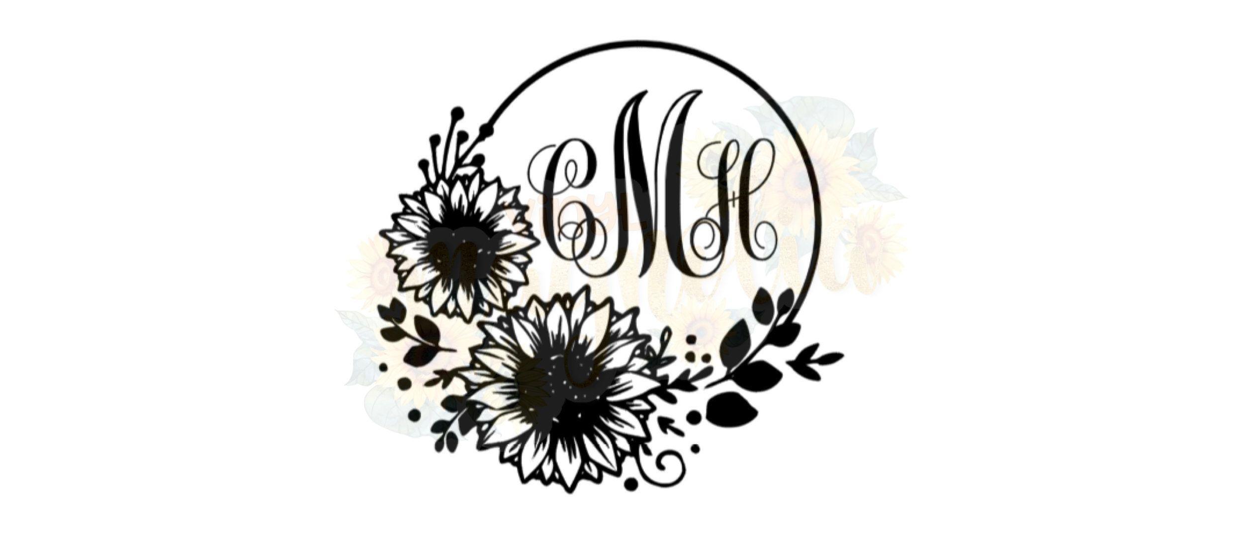 Sunflower Monogram Decal Custom Sunflower Monogram Sticker