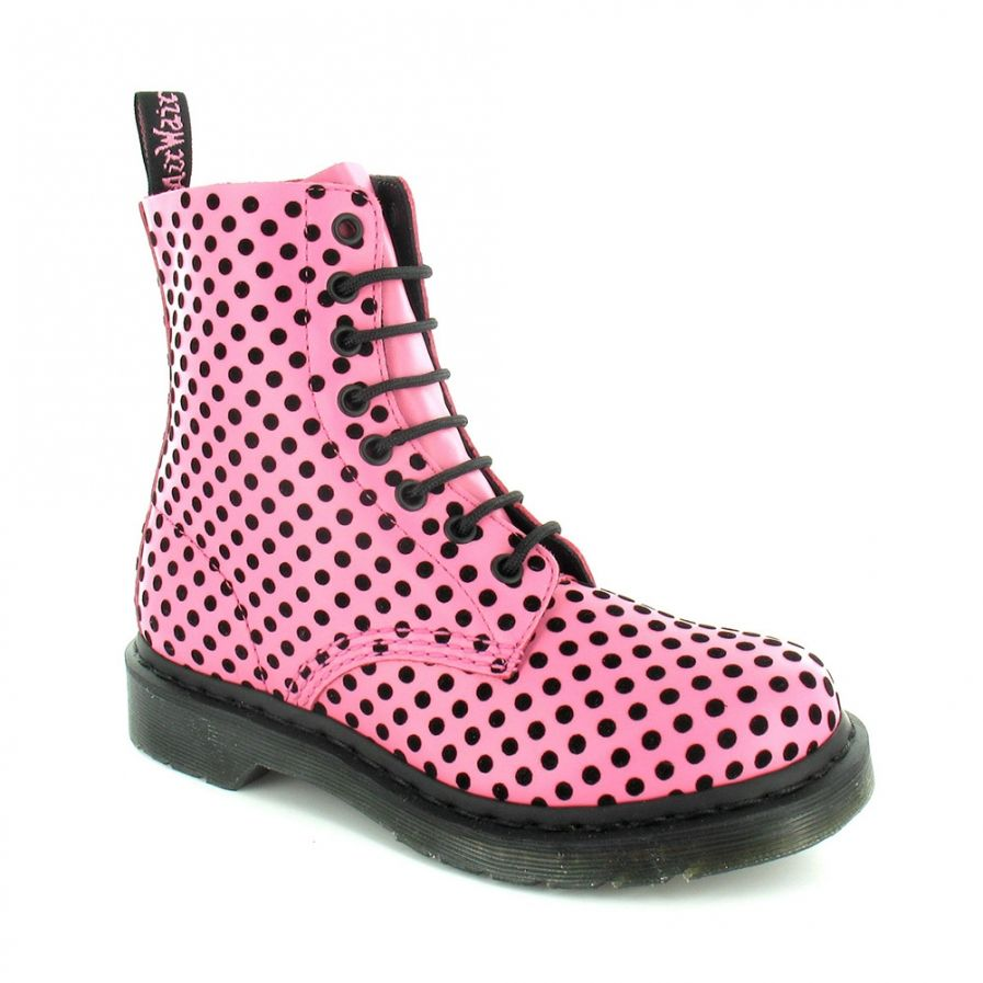 799a07ad7086 Dr Martens Pascal Womens Soft Leather 8-Eyelet Dot Flock Ankle Boots -  Candy Pink + Black