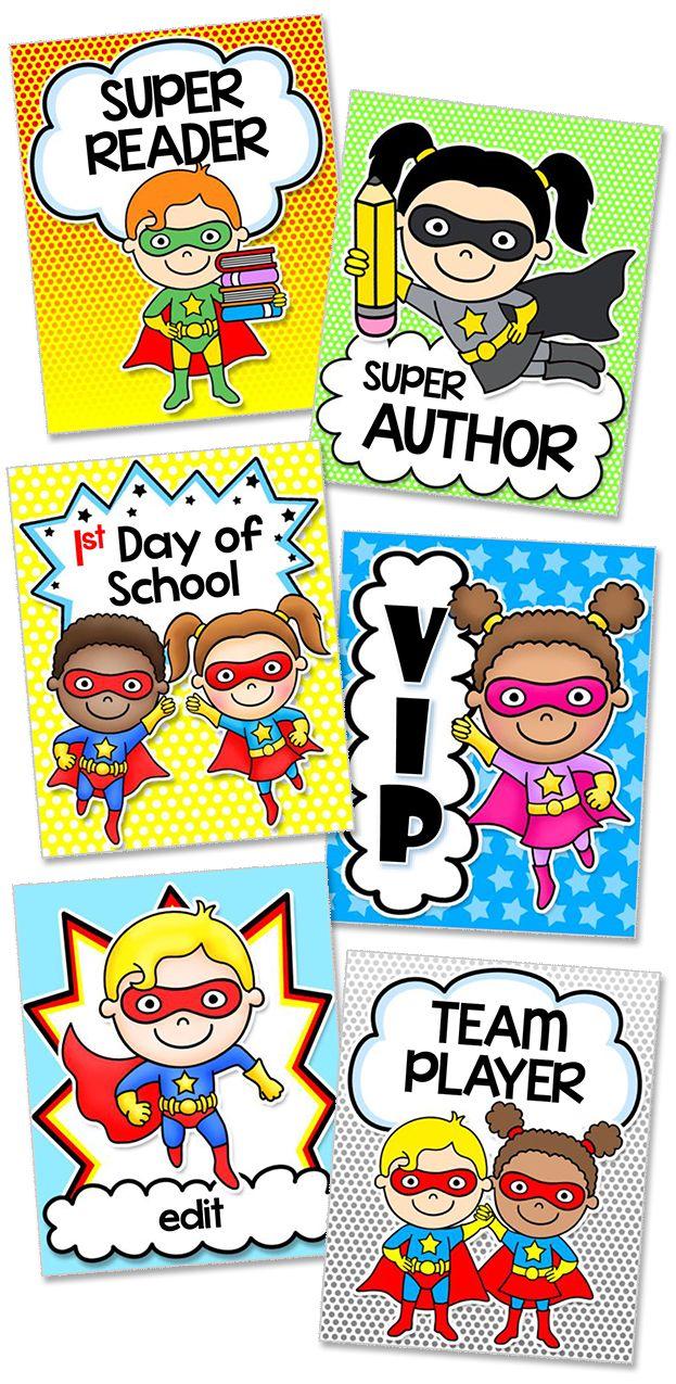 Superhero Theme Achievement Tags for Behavior Management
