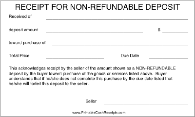 this receipt is intended for deposits that cannot be refunded if the