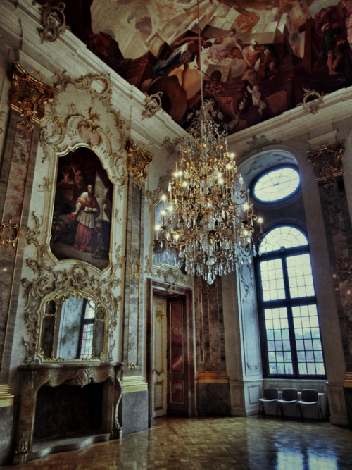 Baroque interior of Bruchsal Palace (Schloss Bruchsal) in Germany… every inch of this room is amazingly detailed.