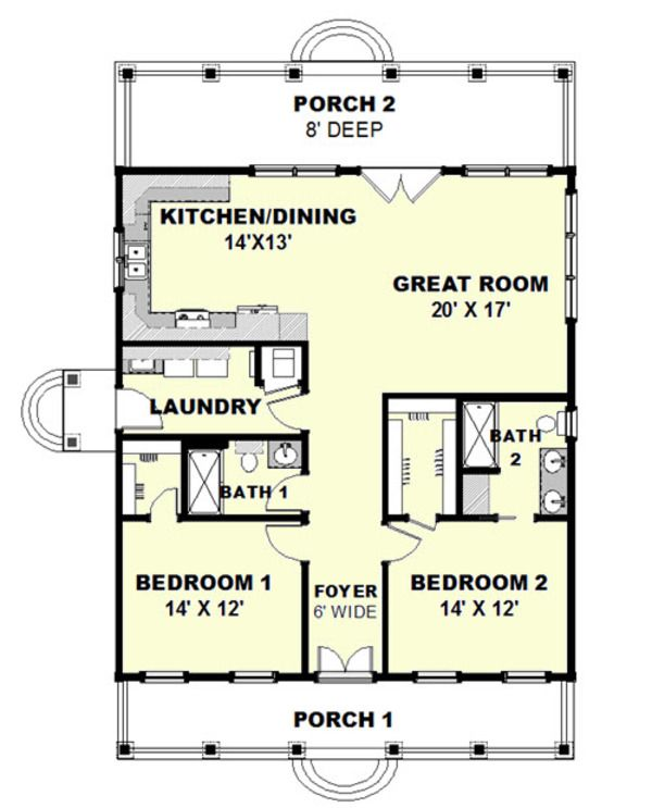 Cottage Style House Plan   2 Beds 2 Baths 1292 Sq/Ft Plan #44
