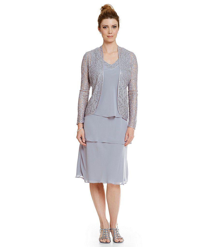 Sl sl fashion dresses - S L Fashions Tiered Sequin Chiffon Jacket Dress