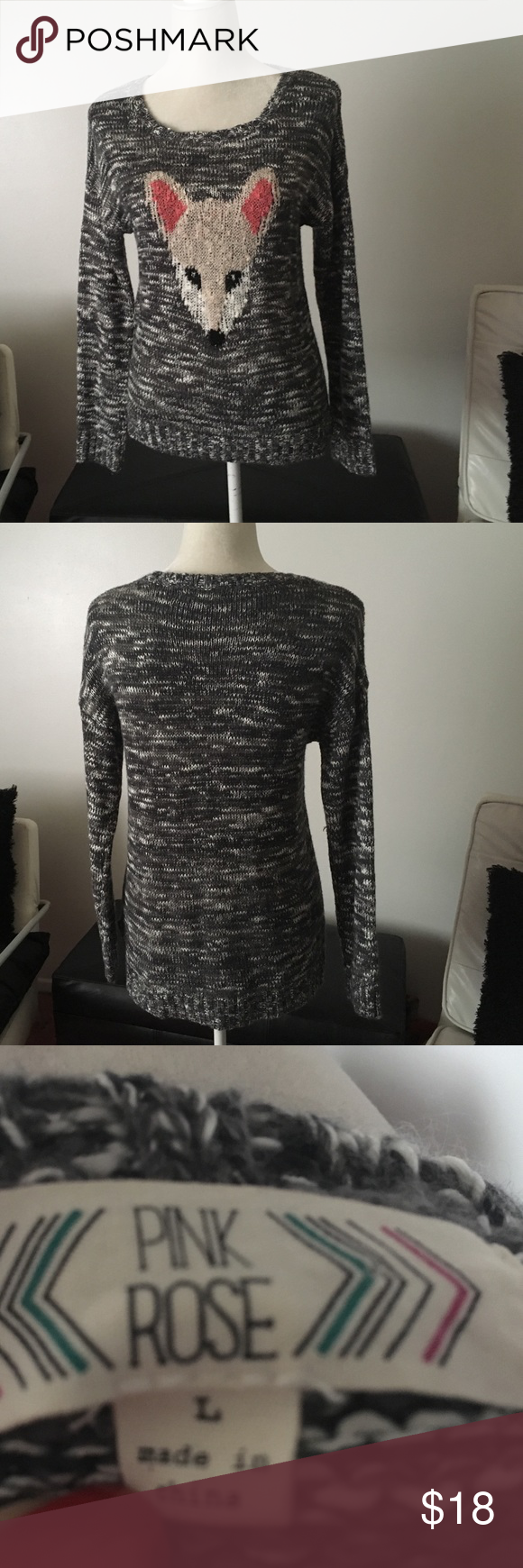 """Sweater by """"Pink Rose"""" In very good condition. Hi/low sweater. Sits lower in the back. Gray and white in color with the exception of the front design Pink Rose Sweaters"""