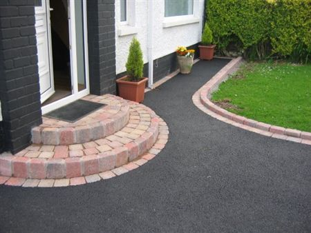 asphalt with old clay brick pavers - google search | house ideas