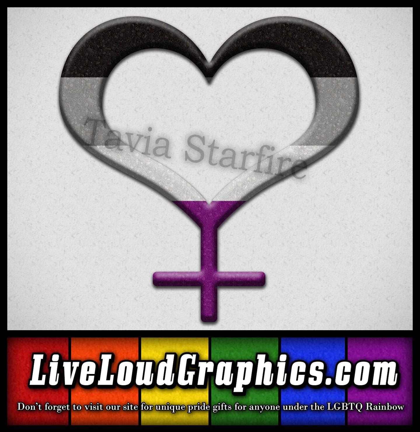 Asexual Pride Heart Shaped Female Gender Symbol In Black Gray