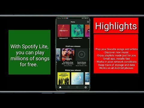 Spotify Lite App review in hindi lListen to music for