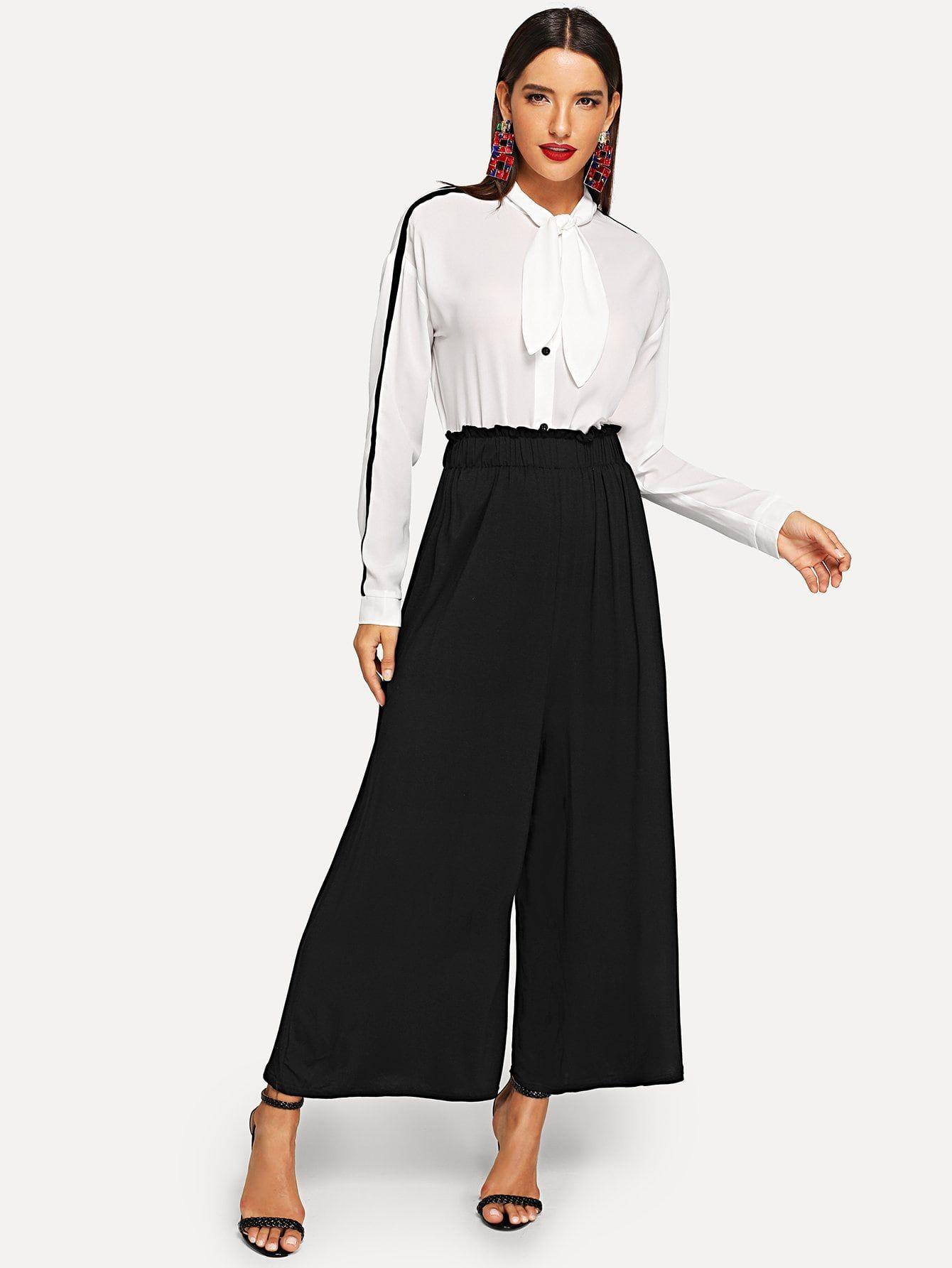 140767dcd8 Casual Ruffle Plain Wide Leg Loose Elastic Waist Mid Waist Black Crop  Length Wide Leg Pants