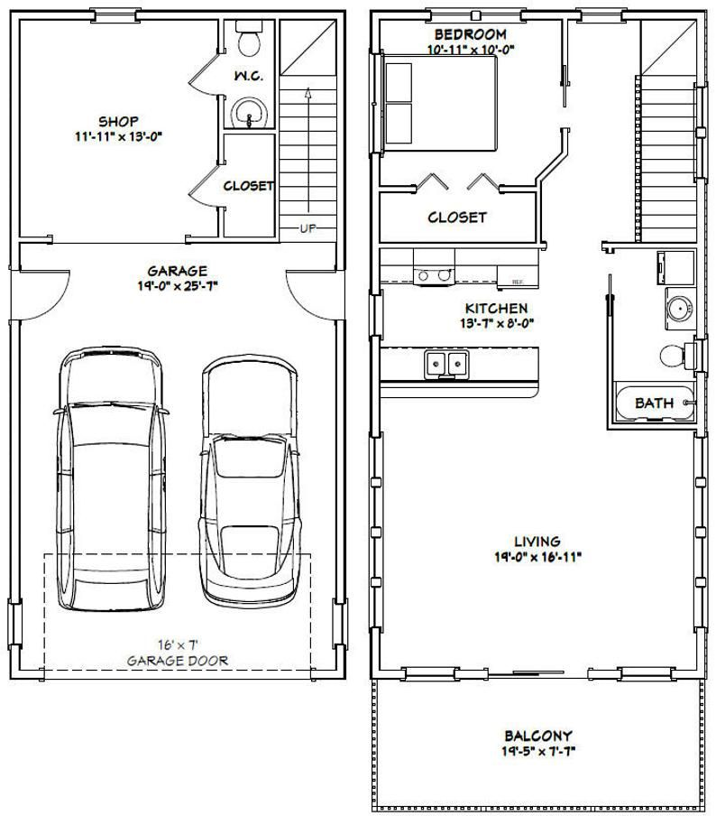 20x40 House 1 Bedroom 1 5 Bath 965 Sq Ft Pdf Floor Etsy In 2021 Garage Apartment Floor Plans Apartment Floor Plans Garage House Plans