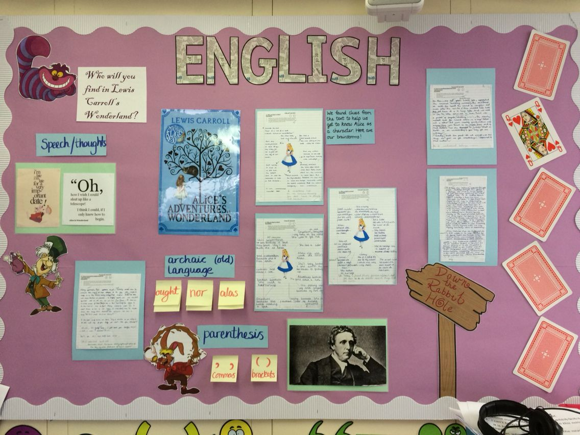 Alice in wonderland by lewis carroll ks2 english working wall display