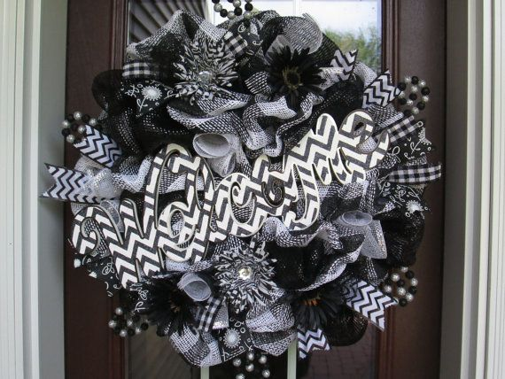 Whimsical Welcome Black And White Deco Mesh Wreath All Occasions