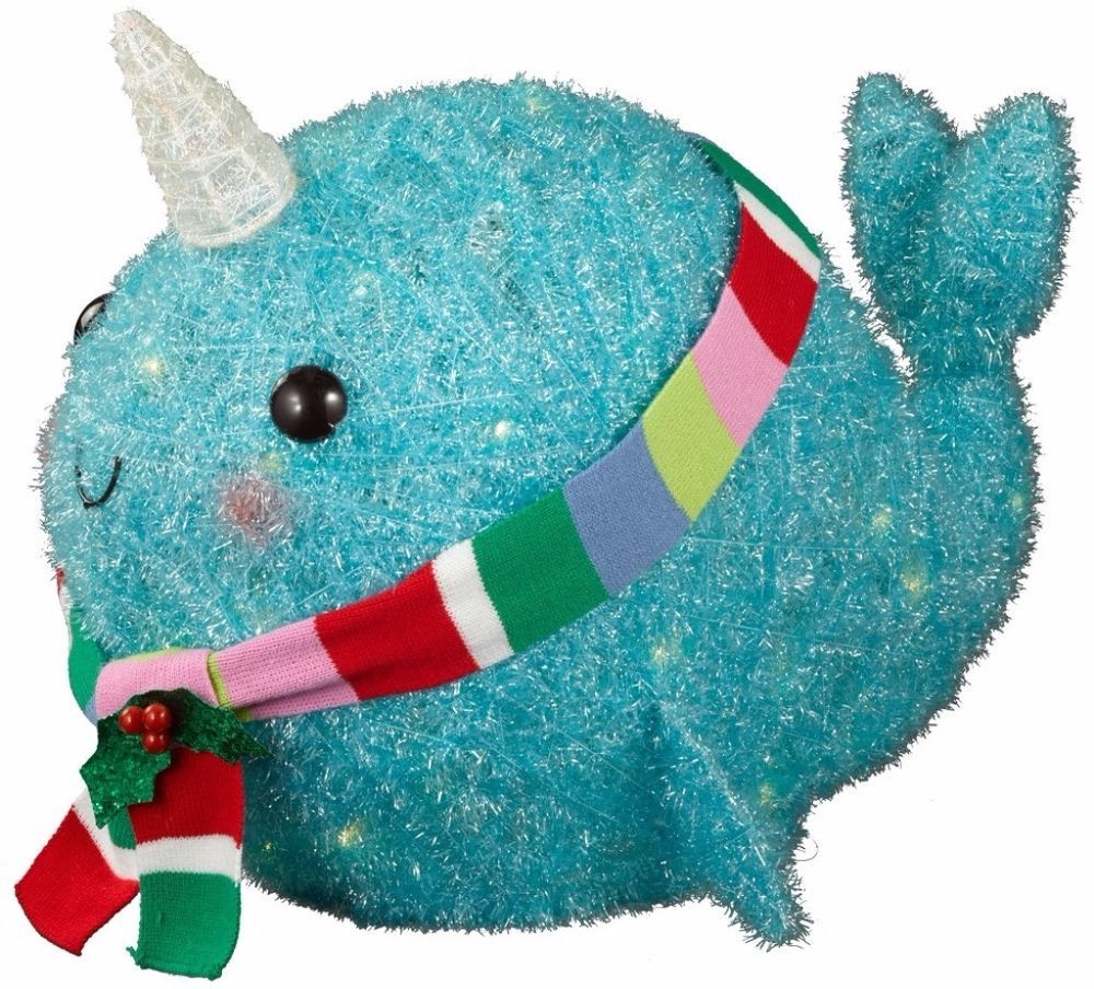 Lighted Tinsel Lit Narwhal with Scarf 50 Clear