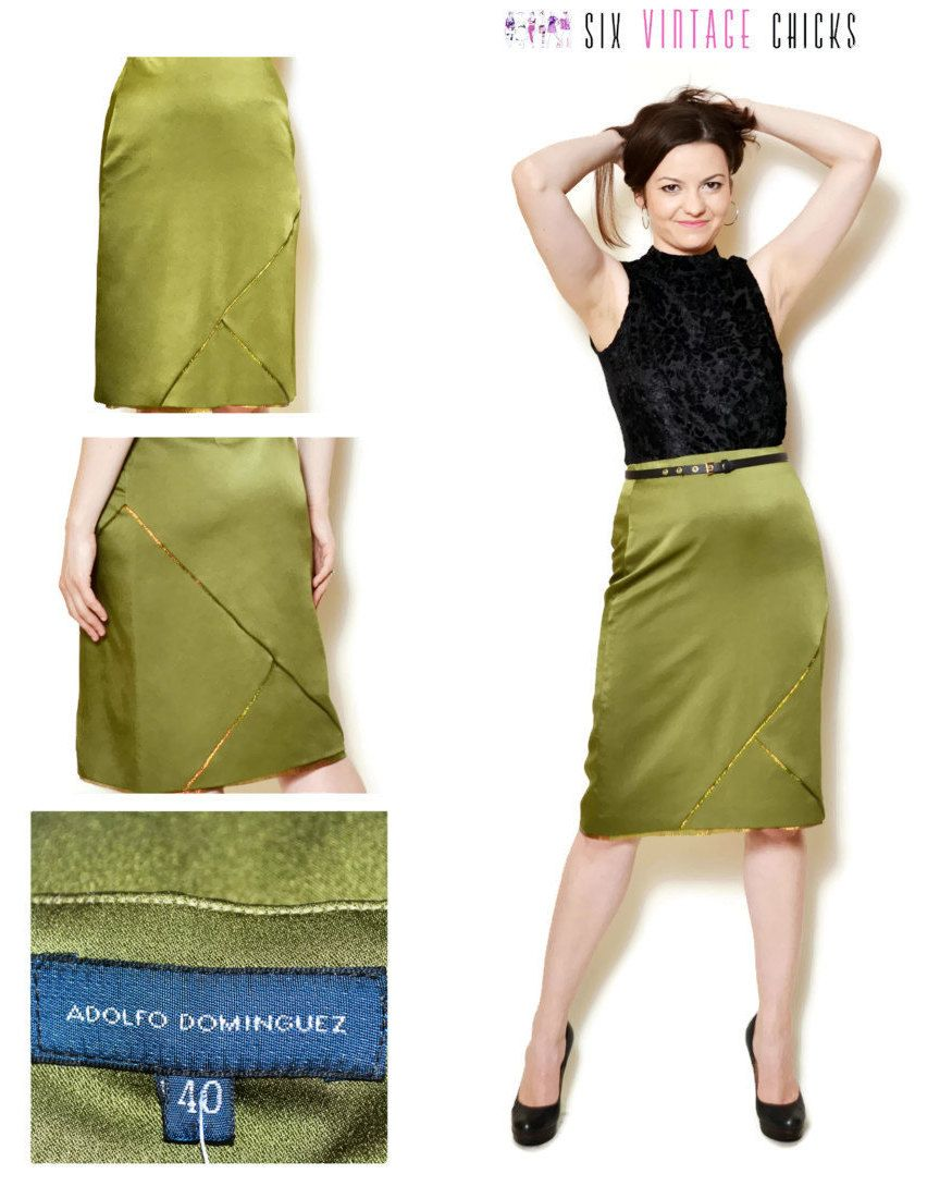 2e07bcd92 Pencil Skirt Women high waisted evening women clothing office clothes green  mini skirt 90s clothing vintage Size L/40 by SixVintageChicks on Etsy