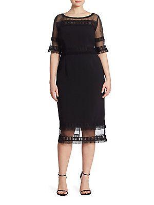 Marina Rinaldi, Plus Size Diabase Fringe Trimmed Dress ...