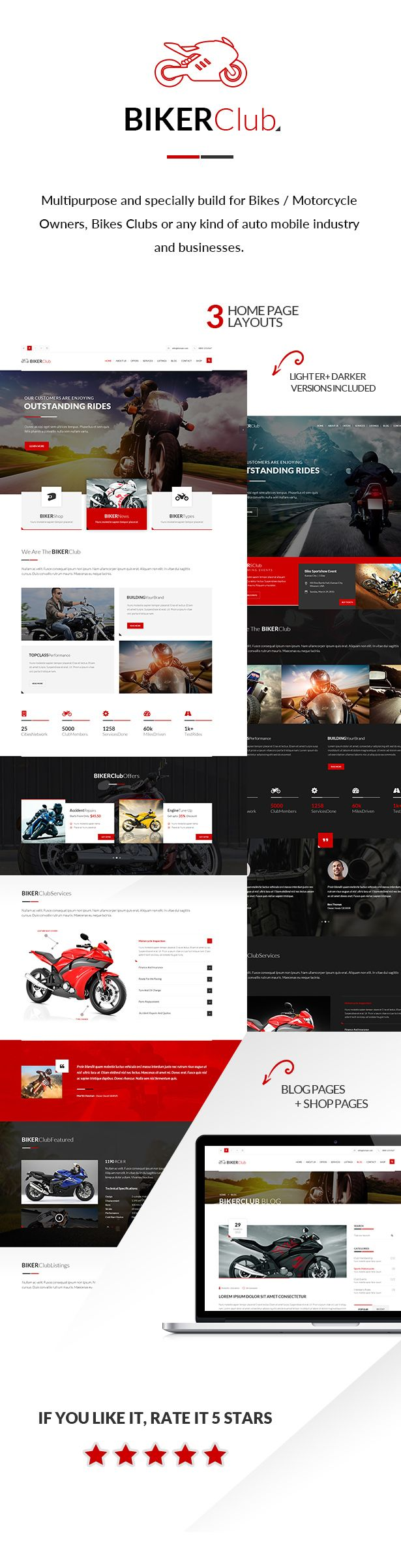 Bike Club Wordpress Theme Is Multipurpose And Specially Build For