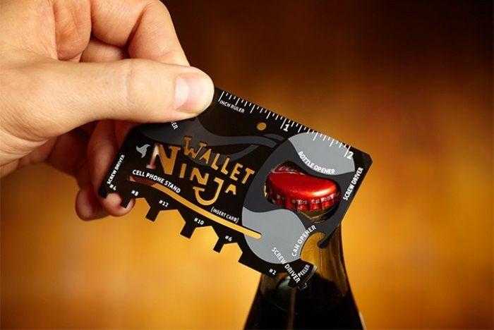 Wallet Ninja is a Pocket-Sized Bottle Opener, Can Opener, Screwdriver And Ruler