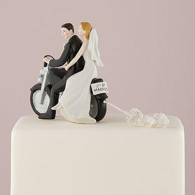 Motorcycle Get Away Wedding Couple Figurine