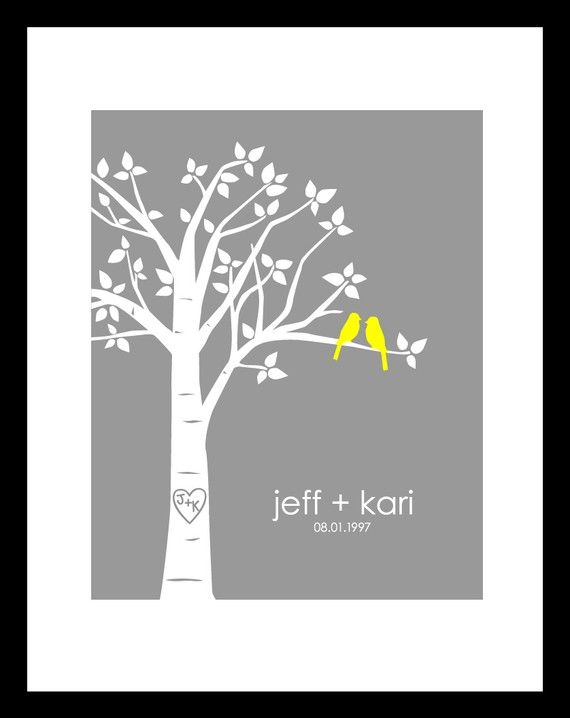 Personalized Wedding Gift, Love Birds in Tree with Carved Initials and Names/Wedding Date, 8x10 Family Tree Print