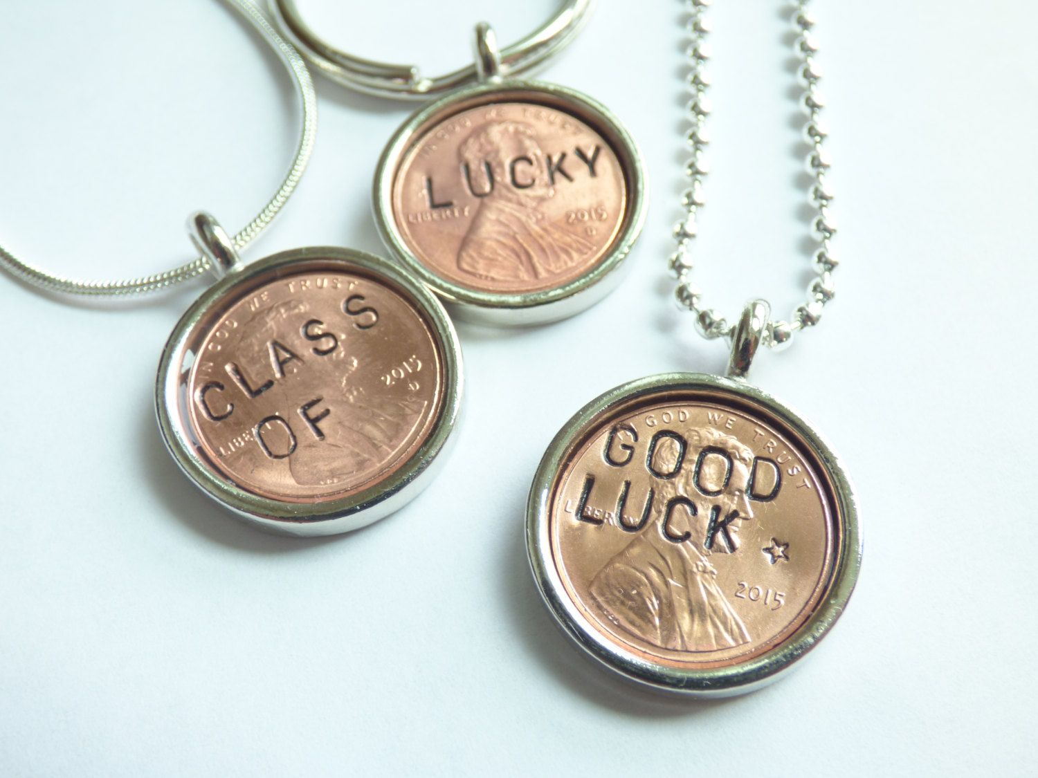 2015 Custom Year Lucky Penny Key Chain Necklace Unisex Copper Stamped Word Luck Graduation Recycled Money Repurposed Coin Upcycled Materials by HeidiKindFinds on Etsy