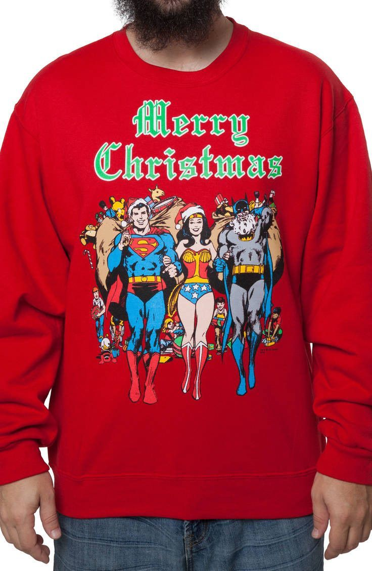 dc comics faux ugly christmas sweater batman superman wonder woman