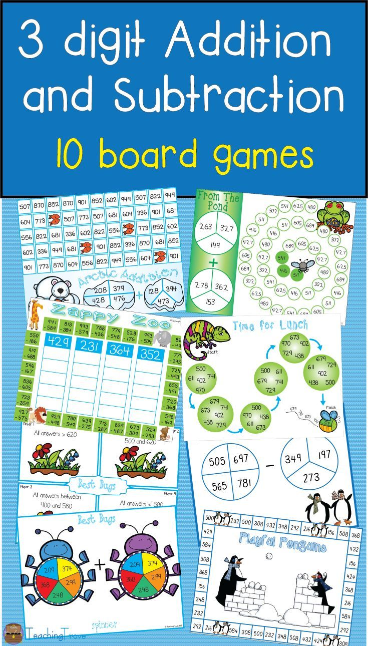 Three Digit Addition and Subtraction Games with Regrouping | Math ...